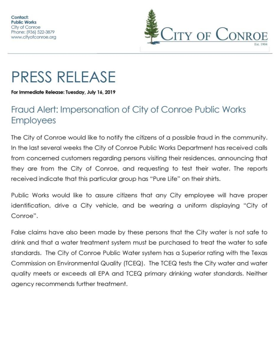 Fraud Alert: Impersonation of City of Conroe Public Works Employees